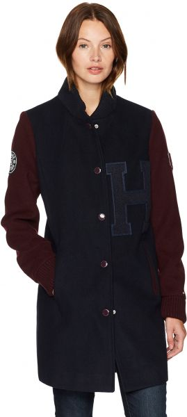 Tommy Hilfiger Women's Long Wool Blend Varsity Jacket with