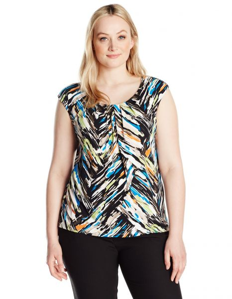 779a63ceb6c Kasper Women s Plus Size Cap Sleeve Chevron Print Ity Top