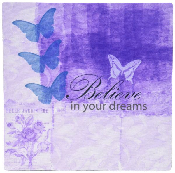 3dRose LLC 8 x 8 x 0.25 Inches Vintage Purple Inspired Butterflies and Botanical Believe in Your Dreams Pattern Mouse Pad (mp_63542_1)