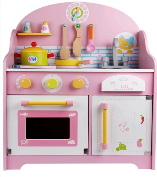 Wooden Kitchen Cook Set Toy Kids Play Pretend Kitchen Cook Set