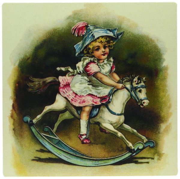 3dRose LLC 8 x 8 x 0.25 Inches Mouse Pad, Sweet Girl on Rocking Horse (mp_34767_1)