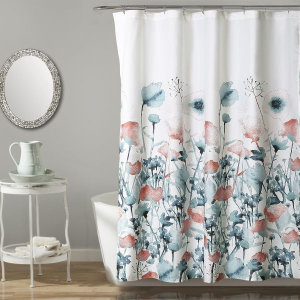 Lush Decor Zuri Flora Shower Curtain 72 X Blue And Coral