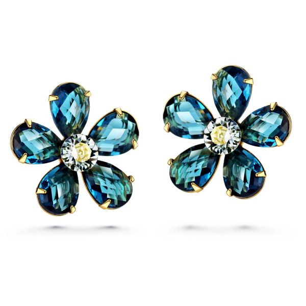 7ba5328a97bc JOUDOO 16K Gold Flower Blue Crystal Platinum Earrings with Screw Back and  Post Stud Earrings (16K gold)