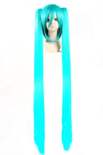 Anime Character Cosplay Hatsune Miku Wig Sky Blue Long Double