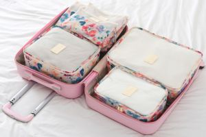 63cf246f42 6 set Trave Packing Cubes-3 travel Cubes 3 Pouches Bags-Travel Luggage  Compression Organizers-White Flowers