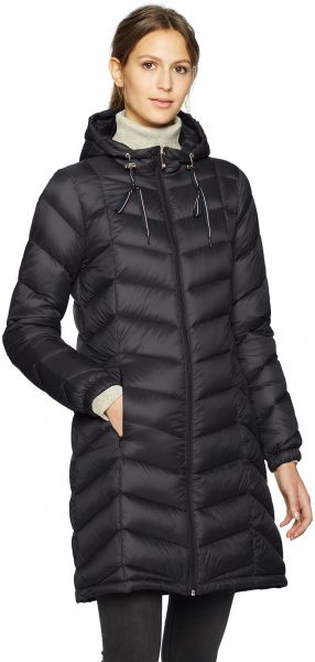 df403759b Tommy Hilfiger Women's Mid Length Packable Down Chevron Quilt Coat, Black,  Extra Small