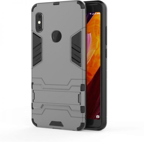 official photos 39610 f50d7 Xiaomi Redmi Note 5 / Note 5 Pro Iron Man Case With Stand Back Cover - Gray