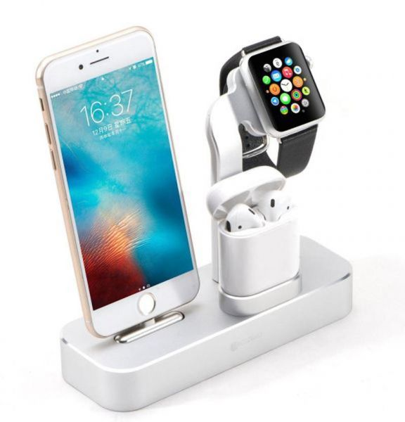 cheap for discount 9f841 3b4c9 COTEetCI 3 in 1 Aluminum Desktop Charging Station ,Charger Dock Holder for  Apple iPhone X , 8, 8 Plus, 7, 7 Plus, Apple Watch Series 1 ,2 ,3, AirPods  ...