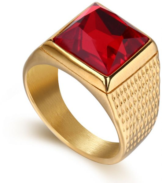 Simple Men S Finger Ring With Ruby Gold Color Stainless Steel