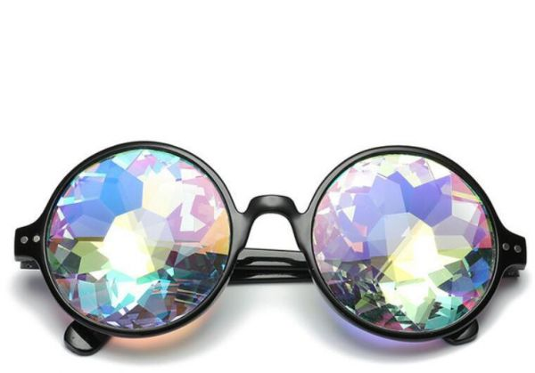 b88ab75a61b Party Sunglasses Stylish Kaleidoscope Retro Round Mosaic Goggles for Men  Women Cosplay Prom Party Dress up Best Gift for Kids black