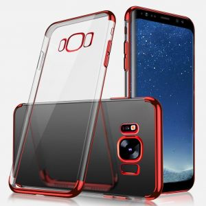 SAMSUNG S8 COVER Ultra-thin Crystal Clear Shock Absorption Electroplating Transparent Bumper Silicone Gel Rubber Soft TPU Case RED