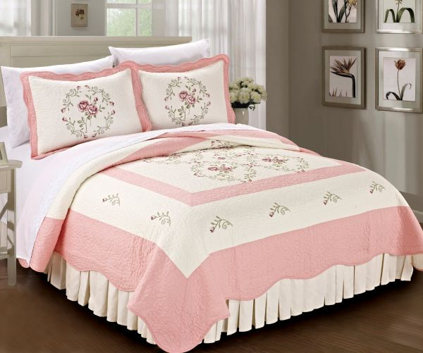Bnf Home Classic Embroidered Prewashed Roses Microfiber Cotton