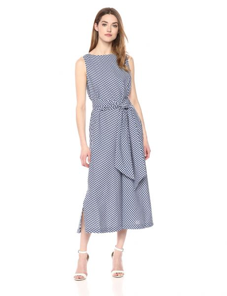 Anne Klein Women S Midi Dress With Sash Oyster Shell Combo Xs