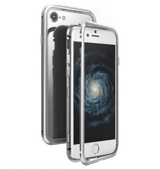 info for a19b7 8ac0c Sliver Magnetic Adsorption Case for IPhone 6 Clear Tempered Glass +  Built-in Magnet Case Metal Cover
