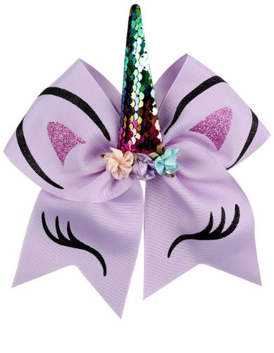 dee70c00fd7 for Girls Glitter Printed Hair Bow with Floral Sequin Horn Elastic ...