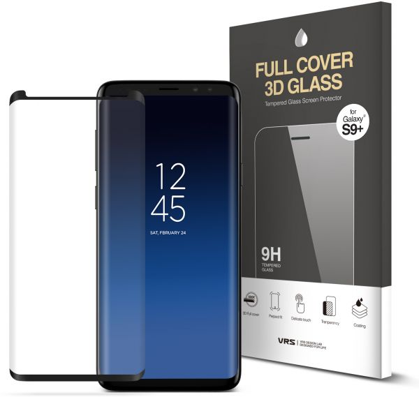 VRS Design Samsung Galaxy S9 PLUS Full Cover 3D Tempered Glass Screen  Protector with easy installer tray