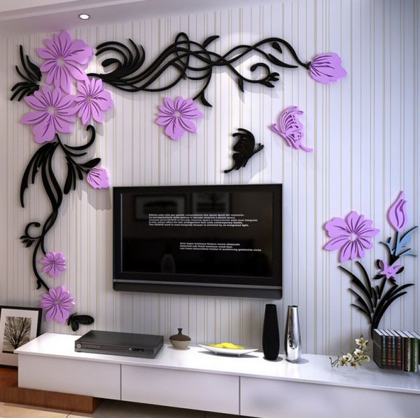 diy beauty flower vine arcylic 3d wall stickers crystal decal living
