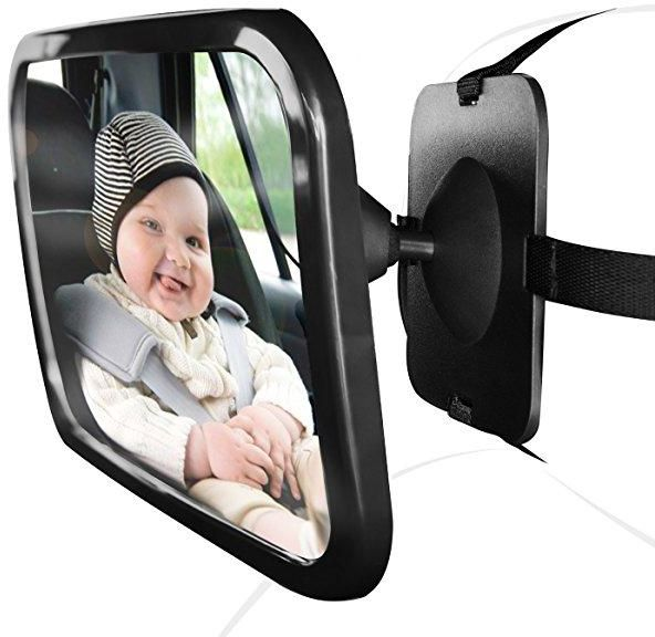 Baby Car Mirror For Rear View Facing Back Seat Infant Toddler Child In 360 Adjustable Double Straps