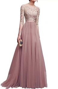 f1bfbef0587d Exquisite Lace Pattern Round Neck Maxi Dress Party Evening Dress for Women  - Pink - Size M