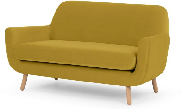 Galaxy Design Velvet Series 2 Seater Sofa Attractive Jonah Fabric With Pure Wood Base Goldish Yellow Color Gdfvlv Jnh 564 332s