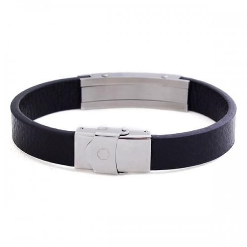 8c6093307554e9 Buy Black leather Mont Blanc bracelet with stainless steel in Egypt