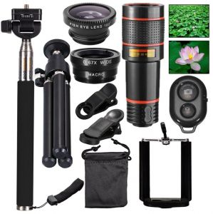 eb5896b7a5fb0e Mobile Phones Lens 10-in-1 Lens Kit for Smartphone, 12x Telescope for  telephoto / fisheye lens / 2 in 1 macro lens and remote control Selfie  Stick Monopod ...