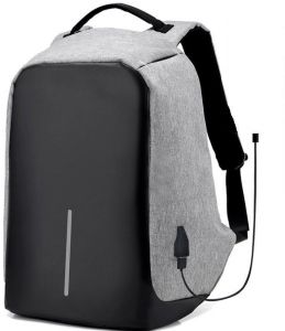 Anti theft Grey laptop backpack with USB charge waterproof bag f2913a67ab767
