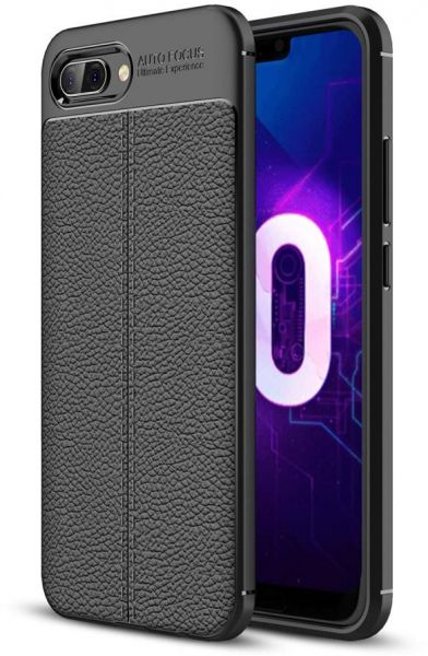 wholesale dealer d24f7 9a67e Huawei Honor 10 Leather Skin Case Cover - Black.