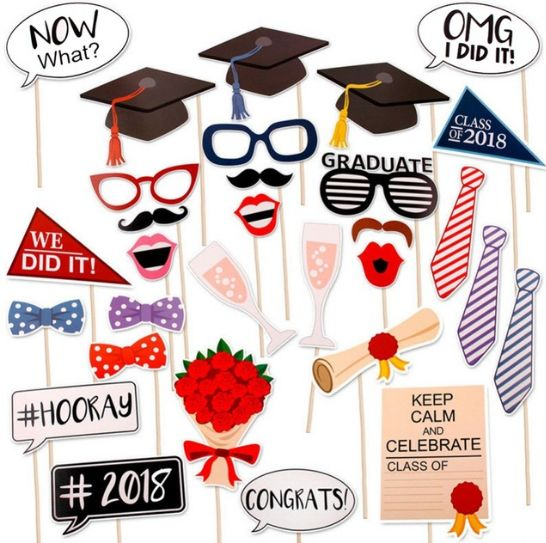 30pcs Class Of 2018 DIY Paper Frame Photo booth Props For Graduation ...