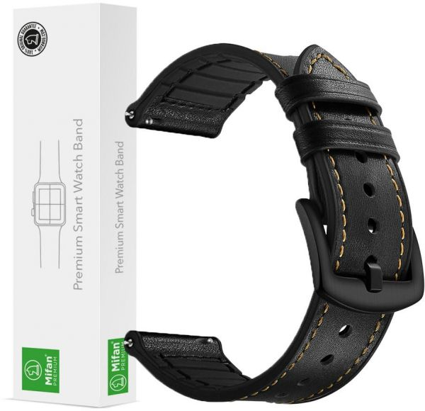 cd239a318ec Samsung Gear S3 Watch Band 22mm Mifan Strap Replacement Premium Hybrid Soft  Silicone Genuine Leather Sports Wristband Bracelet Black with Black Clasp  Buckle ...