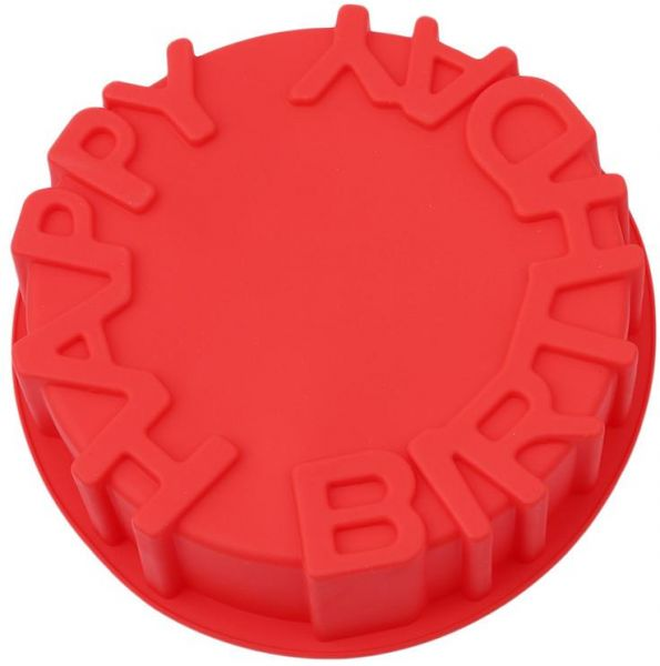 Silicone Cake Mold Big Round Shape Molds Happy Birthday Letter Mould For Cakes Baking Tools Pan Microwave Oven