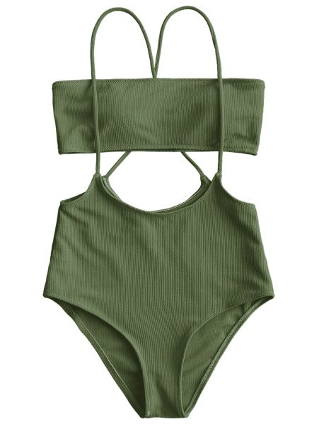 534cb584281 Bandeau Top And High Waisted Slip Bikini Bottoms - Army Green M ...