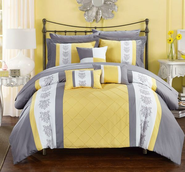 Souq Chic Home 10 Piece Clayton Pintuck Pieced Color Block