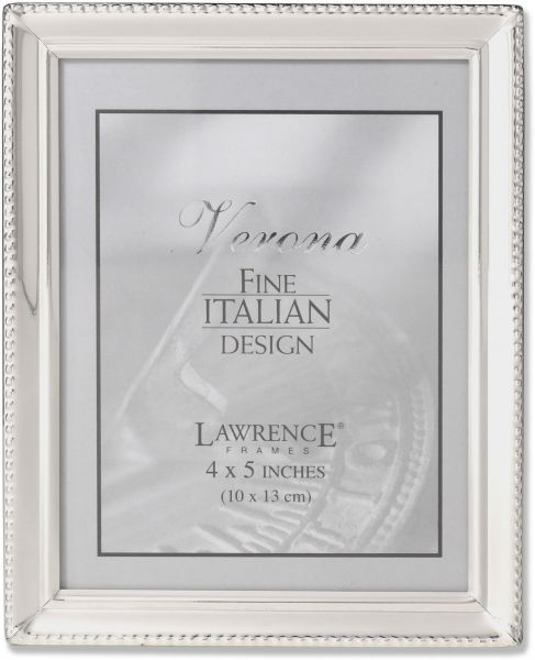 Lawrence Frames Polished Silver Plate 4x5 Picture Frame - Bead ...