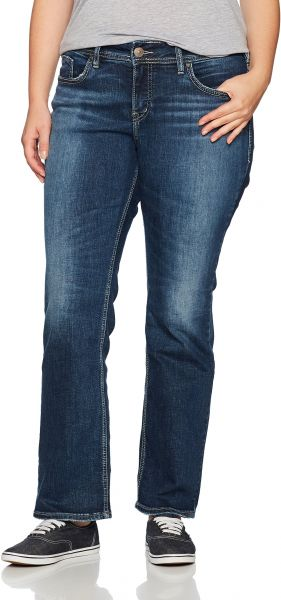 6257d53a859 Silver Jeans Women s Plus Size Elyse Relaxed Fit Mid Rise Slim ...