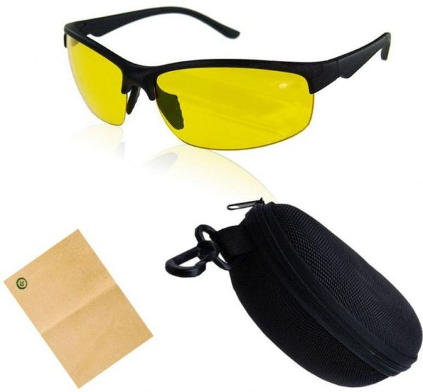 Anti-glare Day Night Vision Goggles Driving Sunglasses for men with box and cleaner