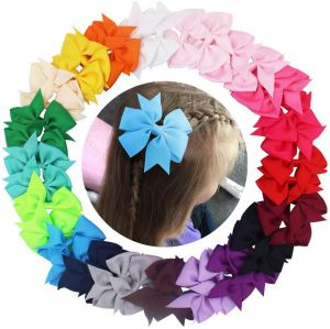 a35237e07795 30 Pcs Boutique Baby Girls Alligator Clips Grosgrain Ribbon Pinwheel Hair  Bows For Teens Kids Toddlers 15 Colors 30Piece With Gift Bag