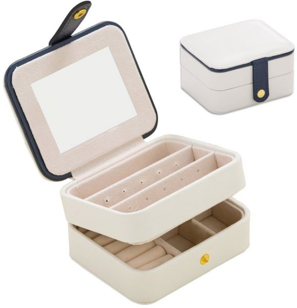 Jewelry Organizer Box Travel Portable Jewelry Storage Case Accessories Holder with Mirror and Environmental Leather for Earring,Lipstick,Necklace,Bracelet,Rings etc