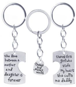 Image of: Homing Pigeon 3pcs Family Pendant Key Ring Set Father And Mother Love Gift For Daughter Dad Mom New Year King Tumblr Sale On Gagged One Liners And Dad Kotexsanita Uae Souqcom