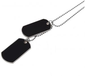 Army Style Double Dog Tag 2 pcs Pendant Necklace, Silver Chain.