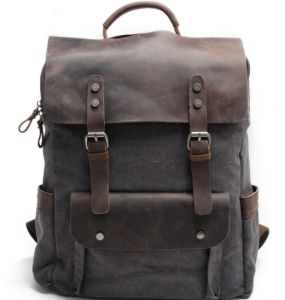 Multifunction Fashion Men Backpack Vintage Canvas Backpack Leather School  Bag Neutral Portable Wearproof Travel Bag-xsq f8a591a3251a1