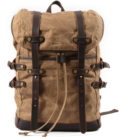 Fashion Backpack Leather Canvas Men Backpack School Bag Military