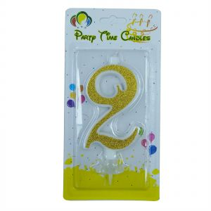 Party Time Unscented 2 Number Birthday Candle