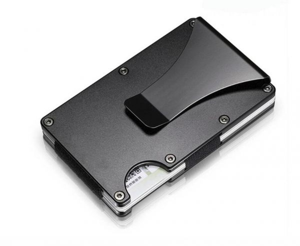 cf49909c412 Metal Credit Card Holder Travel Mini RFID Wallet Men Card Case Porte Carte  Male Money Clip Black