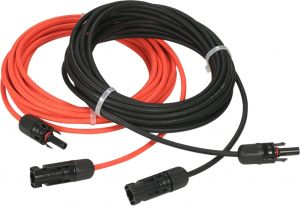 10 Feet Red 10AWG Solar Panel Extension Cable Wire with MC4 Female and Male Connector 1 Pair 10 Feet Black