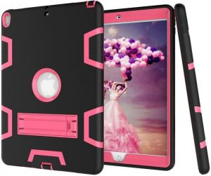 f79bcc51e Perfect For Apple iPad Air 2 Air 6 9.7 Inch Black and Pink color Shockproof  Kickstand Three Layer Armor Defender Case Cover [dpl]