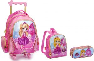 4f0cdc49e2b55 3D sofia School Bag for 3 - 12 Ages Kids Children boys Backpack Trolley Bags