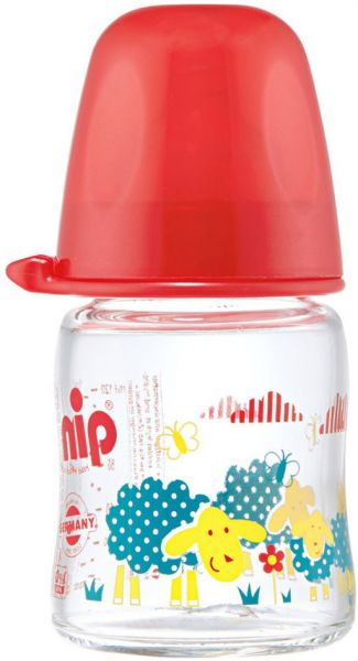 NIP 125 ml Wide Neck Red Sheep Silicone Glass Bottle - 350663