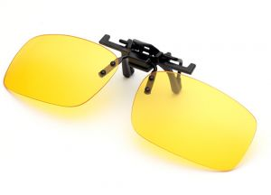 56b44bc2147 Yellow Polarized Clip-on Flip up Sunglasses Lenses Glasses Unbreakable Driving  Fishing Outdoor Sport