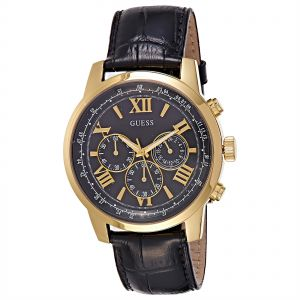 Guess Men's Black Dial Leather Band Watch - W0380G7 | Souq ...